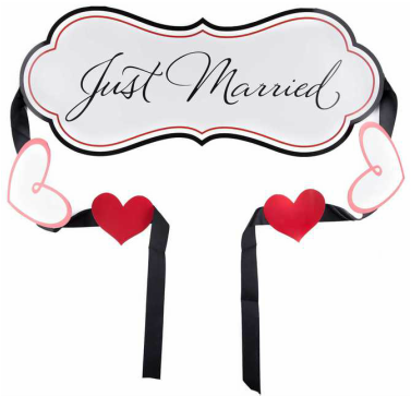 This banner is brand new - never used! Adorable red, black, and white u0027Just  Marriedu0027 sign with long ribbon for attaching to the car. - Just Married Banner PNG
