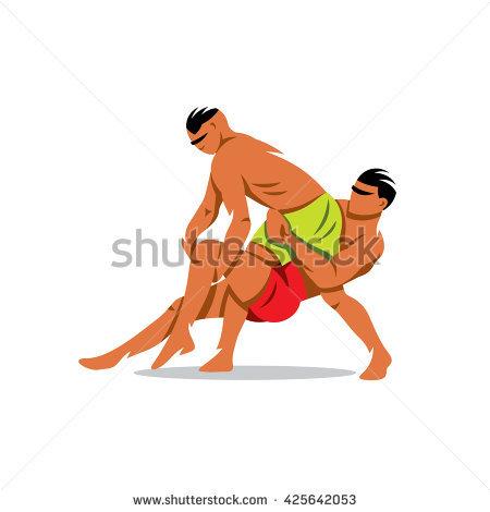 Vector Two Kabaddi players. Cartoon Illustration. Indian game. Struggle  between two people. - Kabaddi PNG