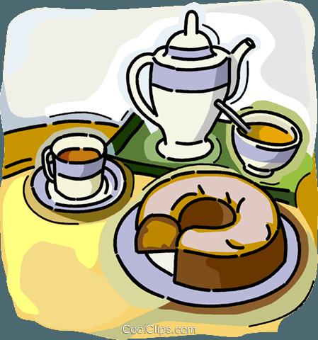 Kaffeekanne und Tassen mit Kaffee Kuchen Vektor Clipart Bild - Kaffee Und Kuchen PNG