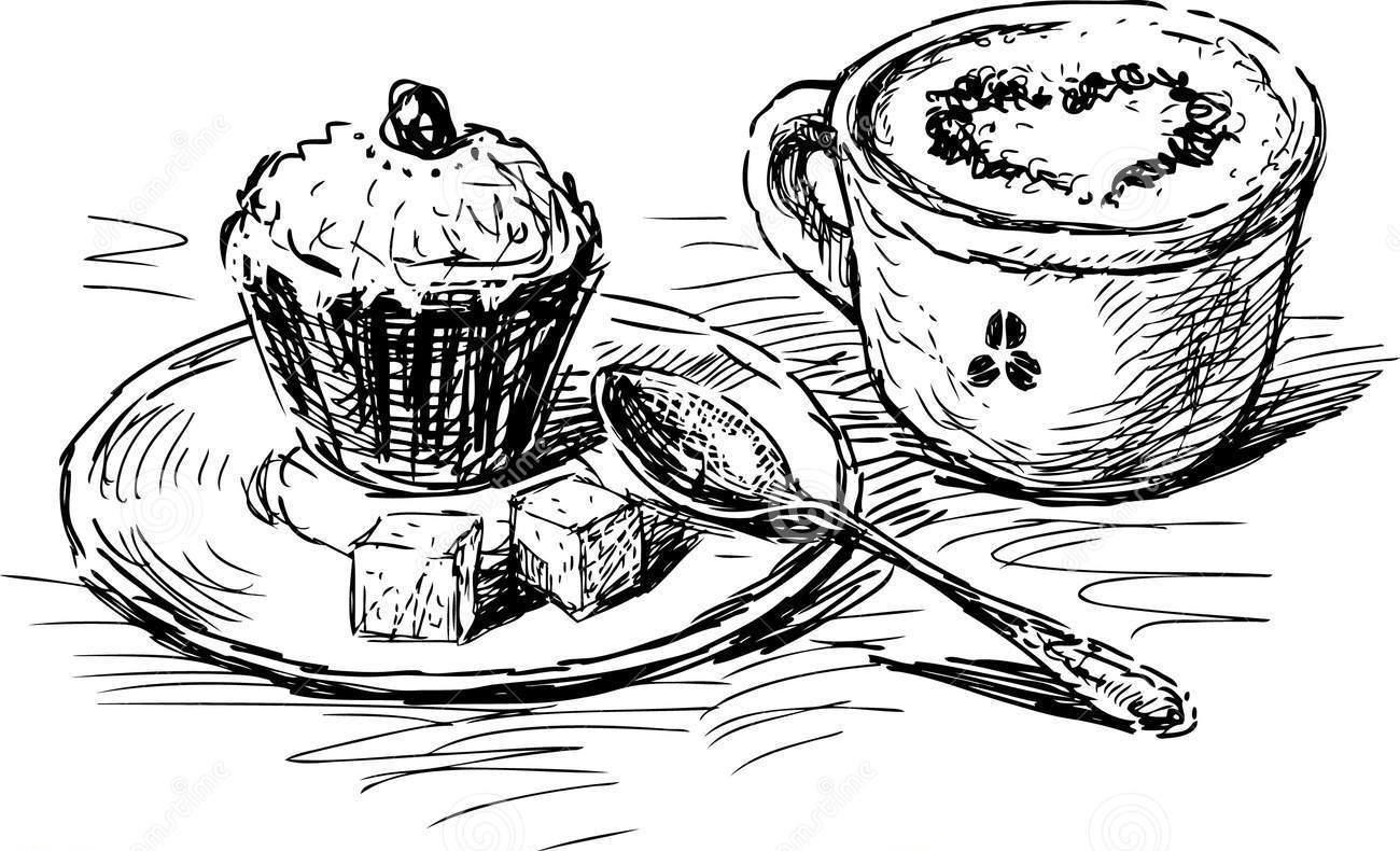Kaffee Und Kuchen PNG Schwarz Weiss-PlusPNG.com-1300 - Kaffee Und Kuchen PNG Schwarz Weiss