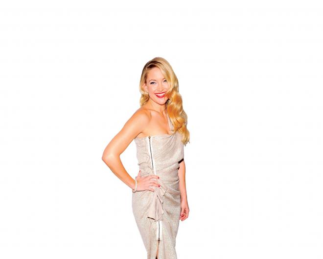 Kate Hudson in asymmetrical metallic dress - Kate Hudson PNG