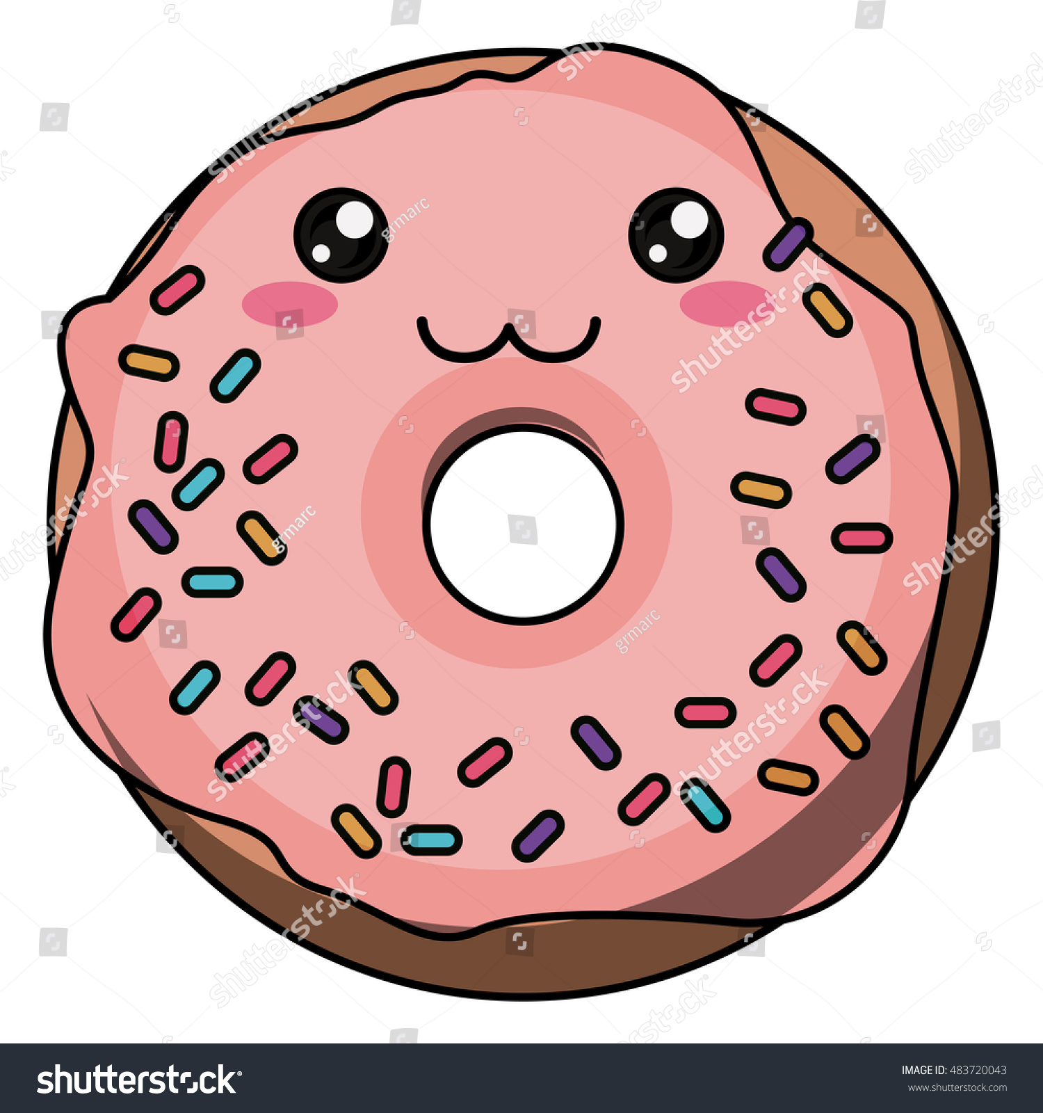 Donut with kawaii face icon. Cute cartoon and character theme. Isolated  design. Vector - Kawaii Donut PNG