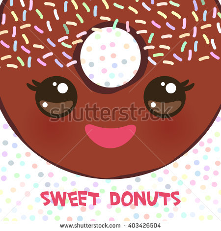 Kawaii colorful donut with pink cheeks and winking eyes, Sweet brown donut  with brown icing - Kawaii Donut PNG