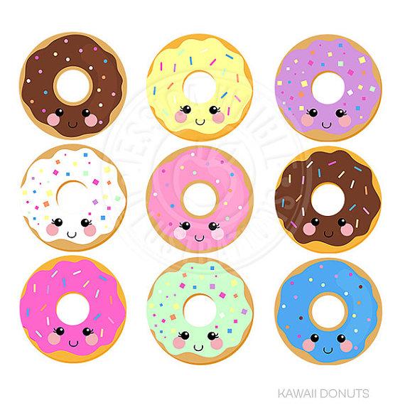 Kawaii Donuts Cute Digital Clipart, Donut Clipart, Donut Graphics, Cute  Kawaii Graphics, Kawaii Clip art, Sprinkled Donut, Instant Download - Kawaii Donut PNG