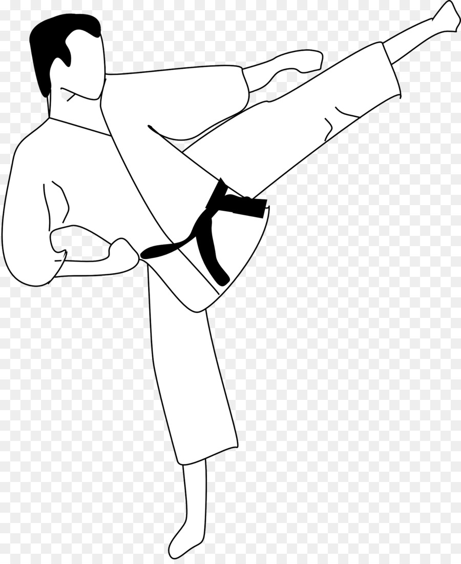 Karate Martial arts Kick Clip art - Man karate - Kick PNG Black And White