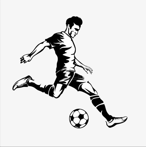 People playing football, Black, White, Movement PNG Image and Clipart - Kick PNG Black And White