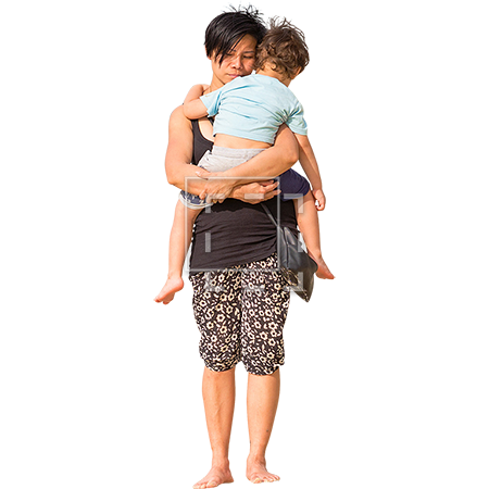 A woman carrying her tuckered out child back from the beach. - Kid And Mom PNG