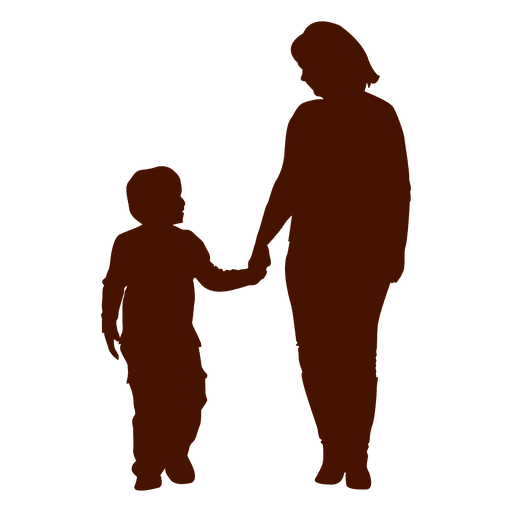 Mom holding kid family silhouette Transparent PNG - Kid And Mom PNG