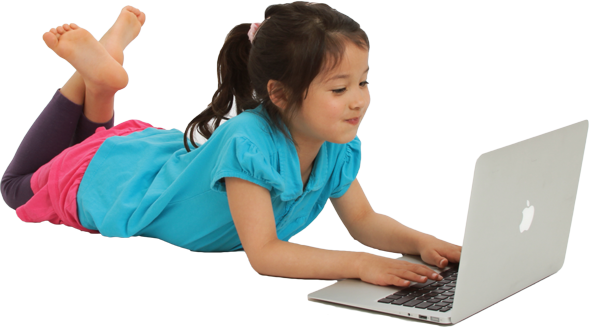 Kid At Computer PNG
