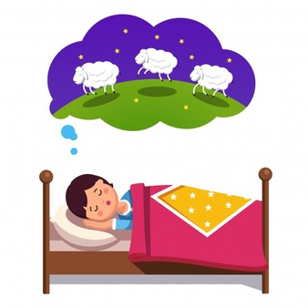 Teen boy trying to sleep counting jumping sheep - Kid Going To Bed PNG