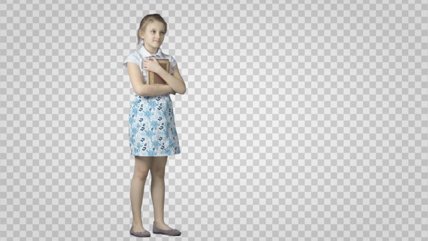 Standing girl with books waits. Cut out video shooting on green screen.  File format - Kid In Bed PNG HD