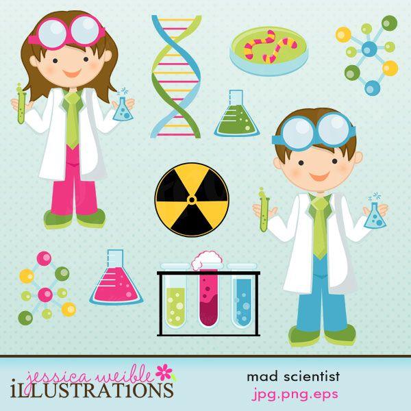 Scientist Clipart - Kid Mad Scientist PNG