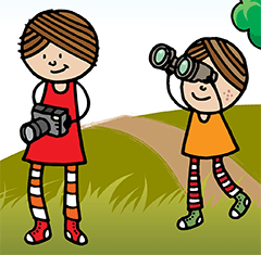 Cartoon image of kids with camera and binoculars - Kid With Camera PNG