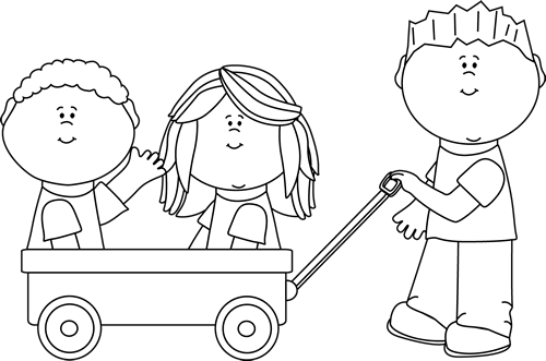 Black and White Kids with Wagon - Kids Being Nice PNG
