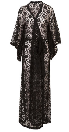 Black Lace Long Kimono, $110