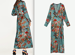 Image is loading ZARA-WOMAN-PRINTED-KIMONO-DRESS-SKY-BLUE-S-M-L- - Kimono Dress PNG