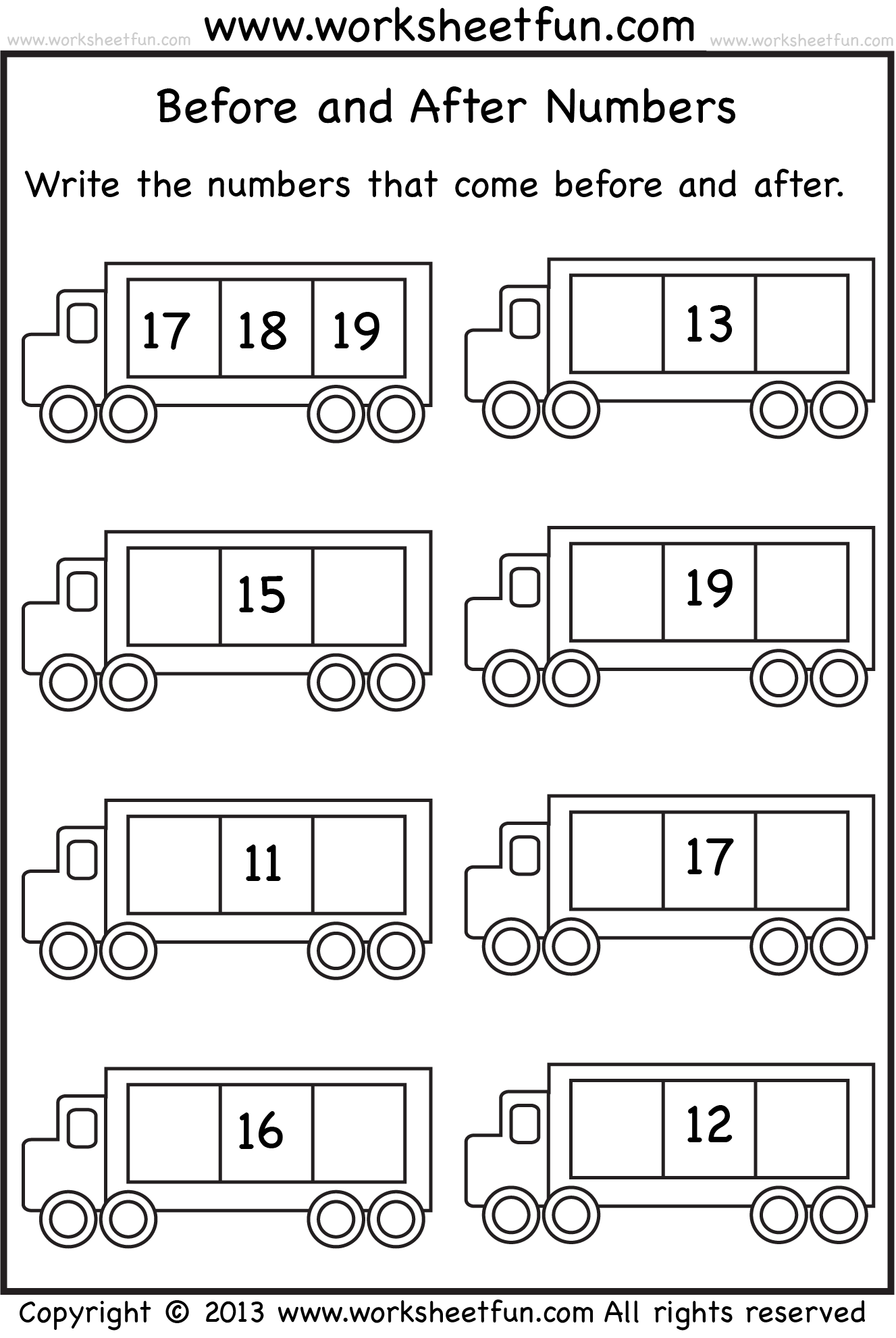 before and after numbers - Kindergarten Math PNG Black And White