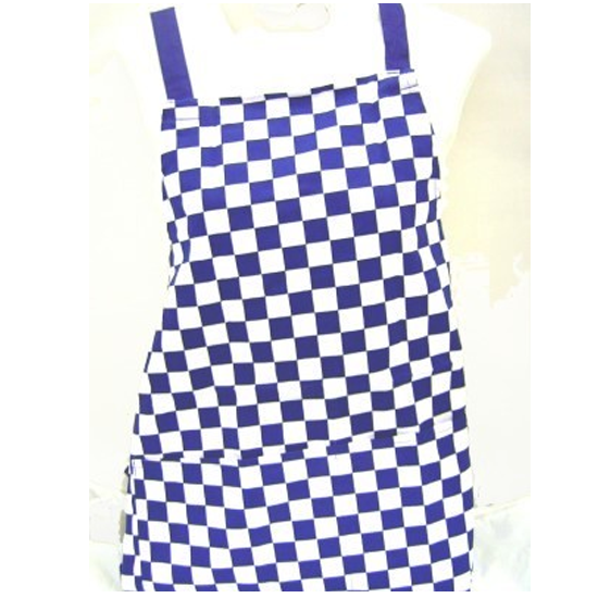 Traditional Chef Blue and White Chequered Kitchen Apron - Kitchen Apron PNG