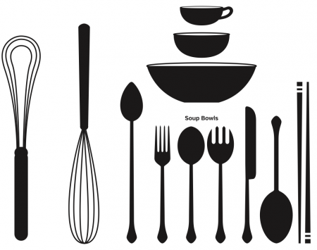 Engaging Kitchen Utensils Vec