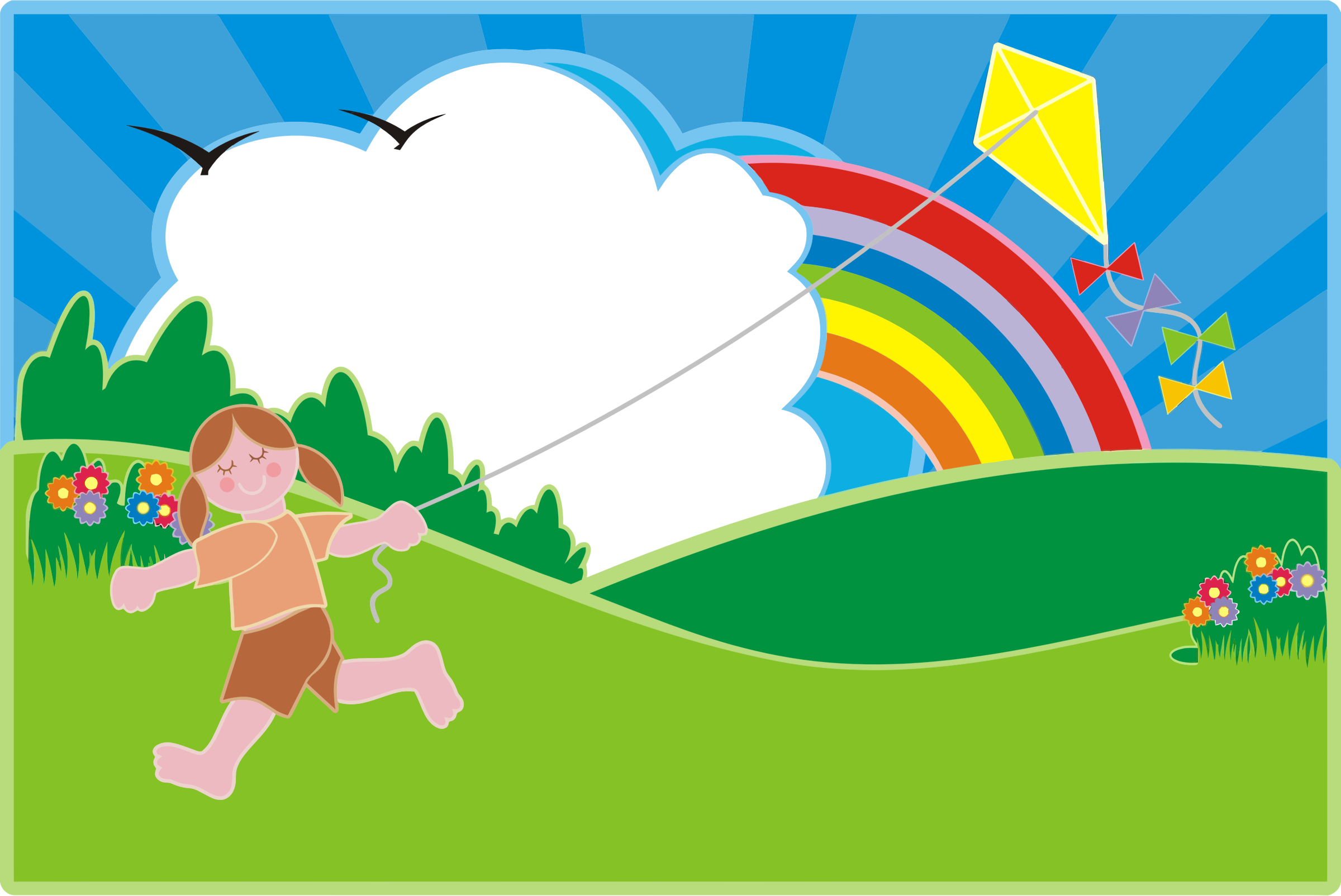 This free Icons Png design of Girl Flying Kite In Colorful Landscape PlusPng.com  - Kite PNG HD Images