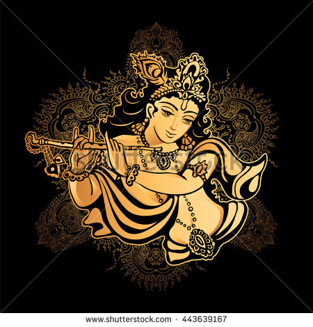 Krishna Janmashtami - Hindu festival. Hare Krishnas. Golden Krishna playing  a flute on a - Krishna Flute PNG Black And White