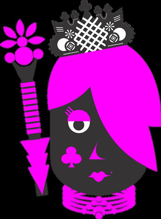 Königin, Stöcke, Anzug, Krone, Briefe, Deck, Spiel - Krone Konigin PNG
