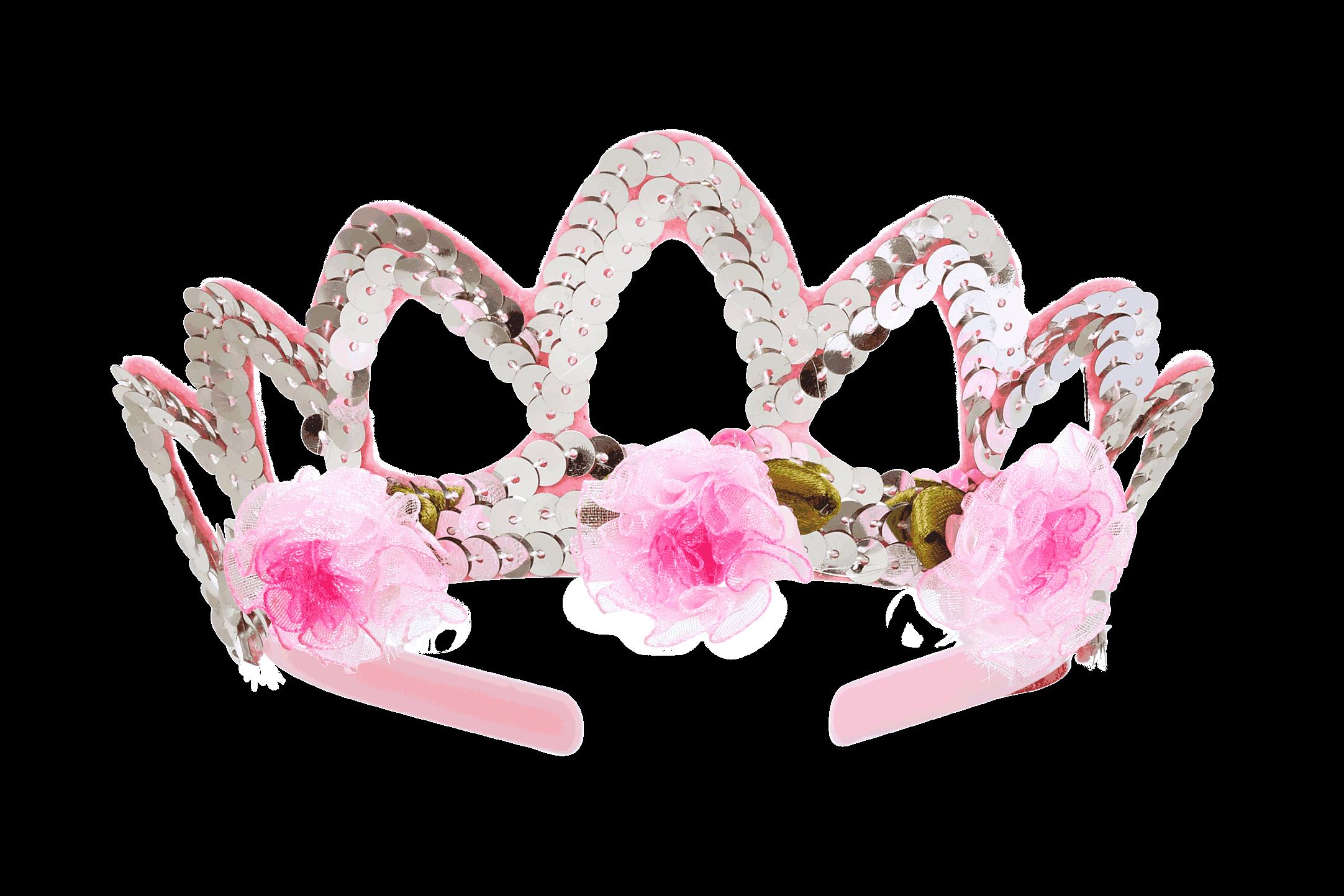 silberne Krone mit rosa Blümchen von Rose u0026 Romeo - Krone Prinzessin PNG