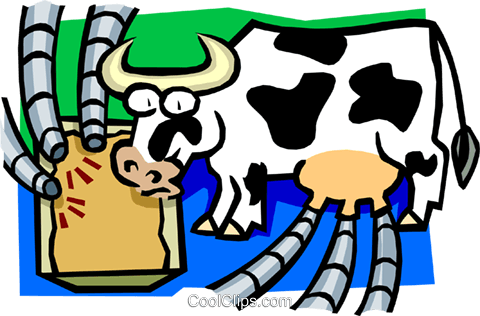 Kuh als zyklische Melkmaschine Vektor Clipart Bild - Kuh Melken PNG