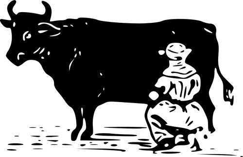 Vektor Zeichnung der Mann eine Kuh melken - Kuh Melken PNG