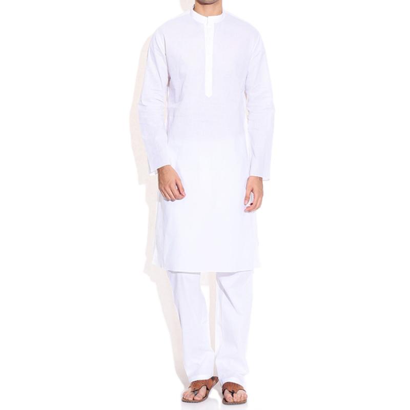 Cotton Mix Unstiched 5.5 Meter Plain White Kurta Pajama - Kurta PNG