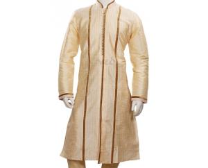 Traditional Designer Golden Silk Wedding Kurta Pajama Set - Kurta PNG