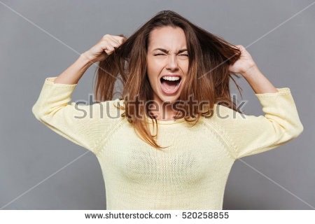 Portrait of a frustrated angry woman screaming out loud and pulling her  hair out isolated on - Lady Pulling Her Hair Out PNG