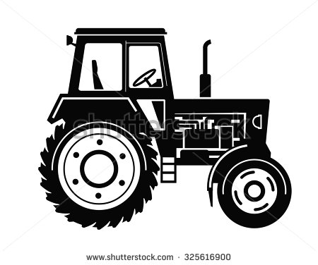 Vector Black Tractor Icon On White Background - Land Transportation PNG Black And White