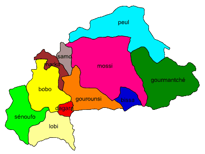 Langages of Burkina Faso - Mapsof.Net Map - Burkina Faso PNG