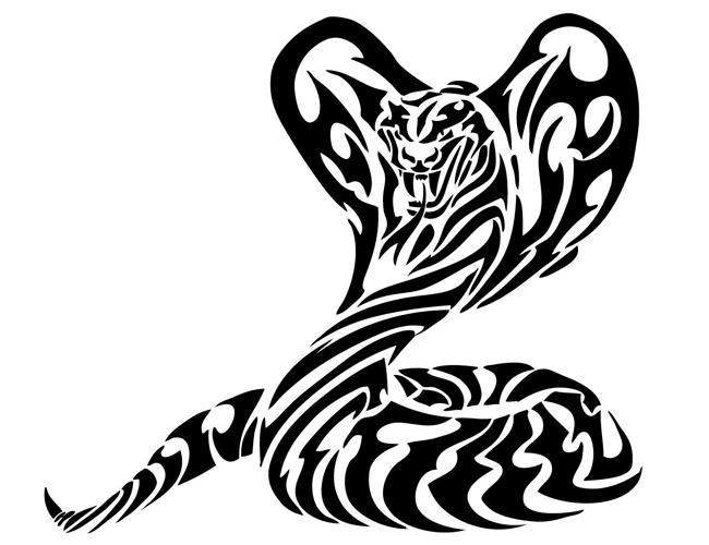 Large Tribal Cobra Snake Tattoo | Tattoo Tabatha - Snake Tattoo PNG
