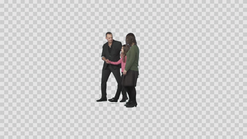Family (father, mother u0026 daughter) slowly walks on transparent background.  File format - Laughing PNG HD