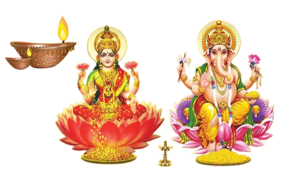 God laxmi ganesh Diwali design elements. Resolution: 989 x 651 - Laxmi Devi PNG