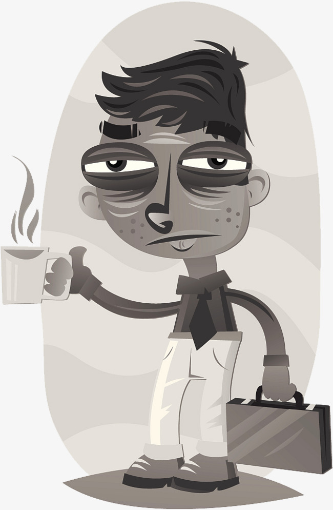 A Black And White Illustration; A Lazy Worker Free PNG - Lazy PNG Black And White
