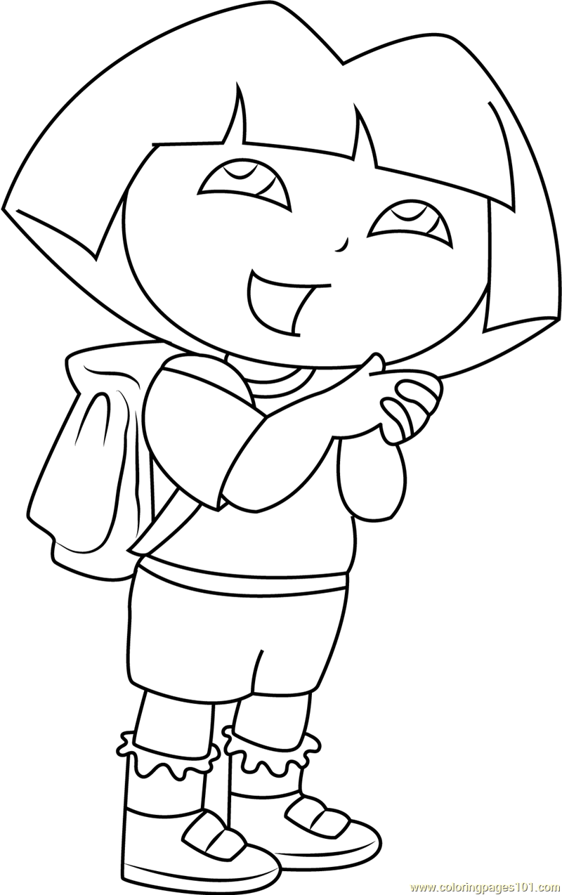 Dora Going to School Coloring Page - Leaving To School PNG