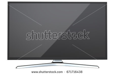 Frontal view of television TV or computer PC monitor display led or lcd,  isolated on - Led PNG Black And White