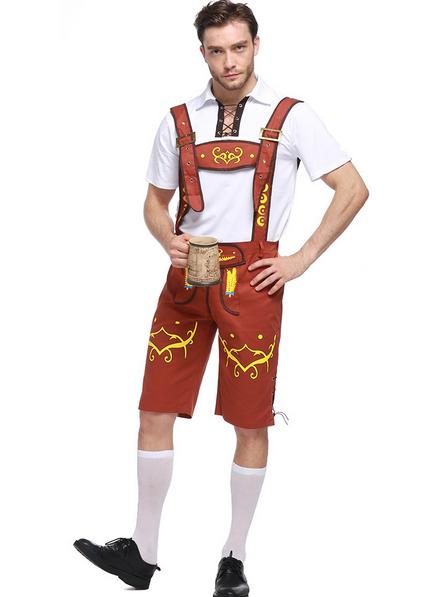 Guy-Lederhosen-Oktoberfest-Octoberfest-Bavarian-German-Beer-Costume- - Lederhosen Oktoberfest PNG