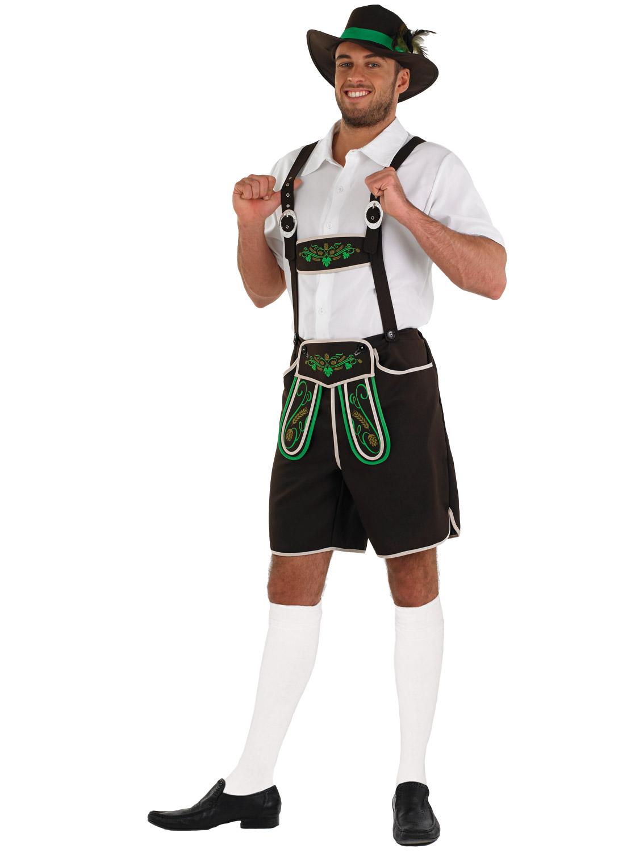 Men/'s Bavarian Fancy Dress Costume Oktoberfest Lederhosen Shorts Braces Top Hat