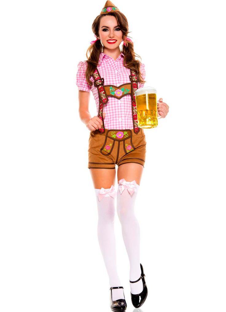Lederhosen Oktoberfest Beer Babe Costume - Lederhosen Oktoberfest PNG