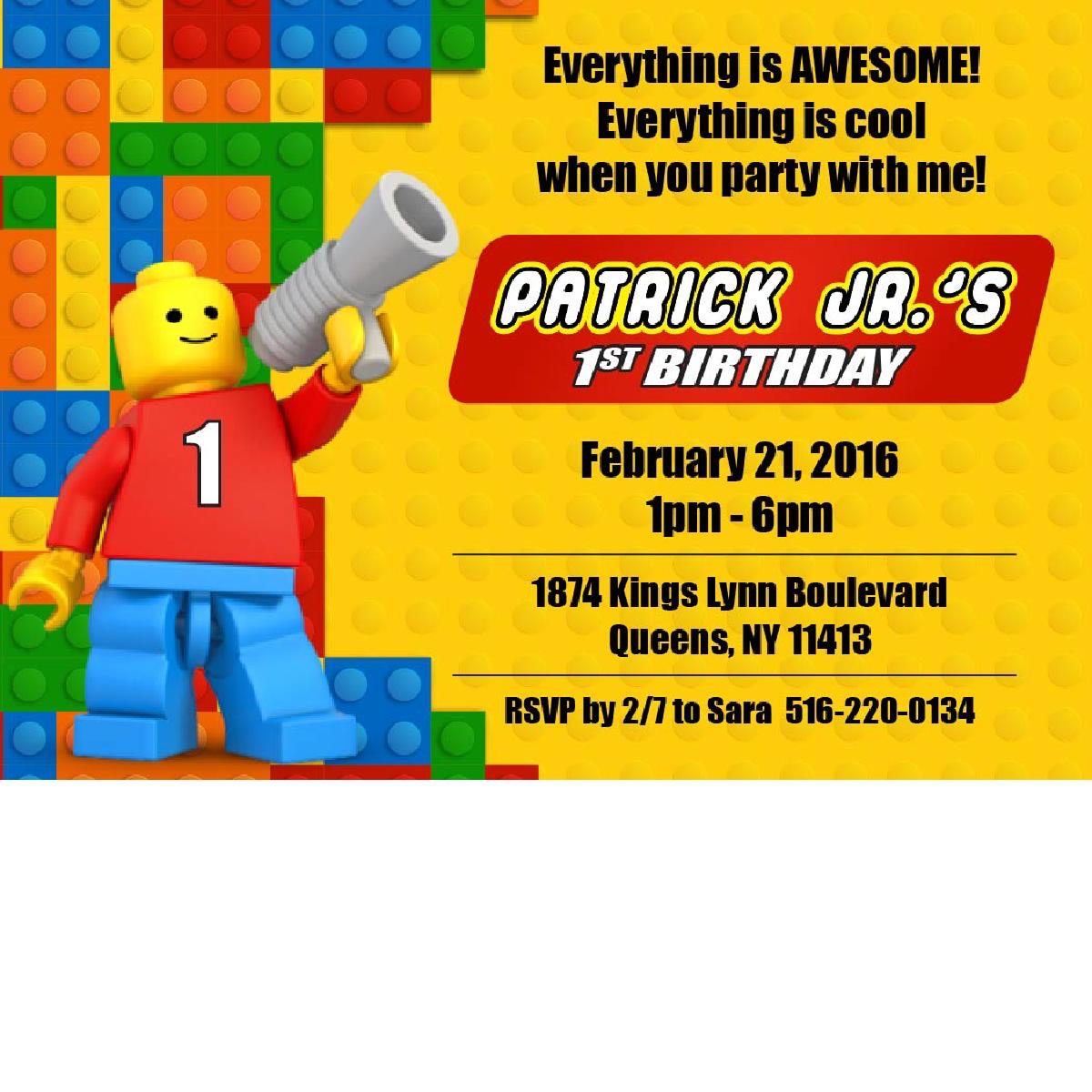 Lego Birthday Invitations - Lego Birthday PNG
