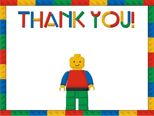 Lego Thank you Note Cards - Lego Birthday PNG