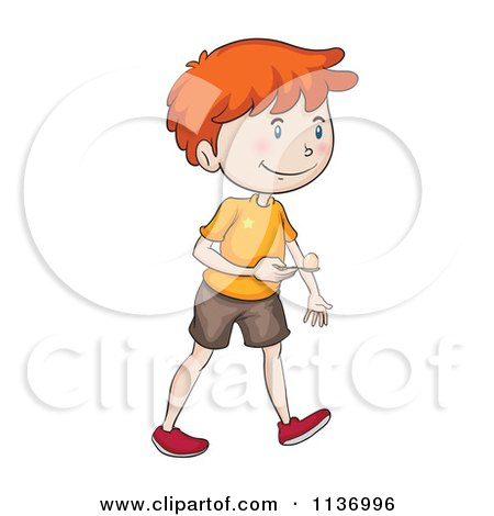 Cartoon Of A Boy Competing In An Egg And Spoon Race 3 - Royalty Free Vector  Clipart by Graphics RF - Lemon And Spoon Race PNG