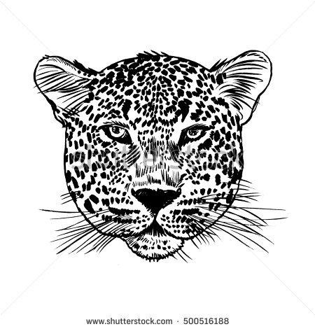 Leopard face tattoo ,Vector illustration, print - Leopard Face PNG
