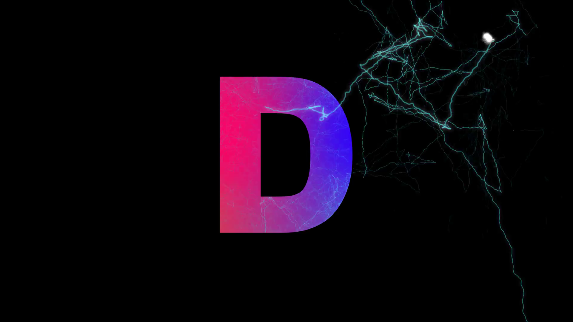 latin letter D multi-colored appear then disappear under the lightning  strikes changing color. Alpha channel Premultiplied - Matted with color  black Stock PlusPng.com  - Letter D HD PNG