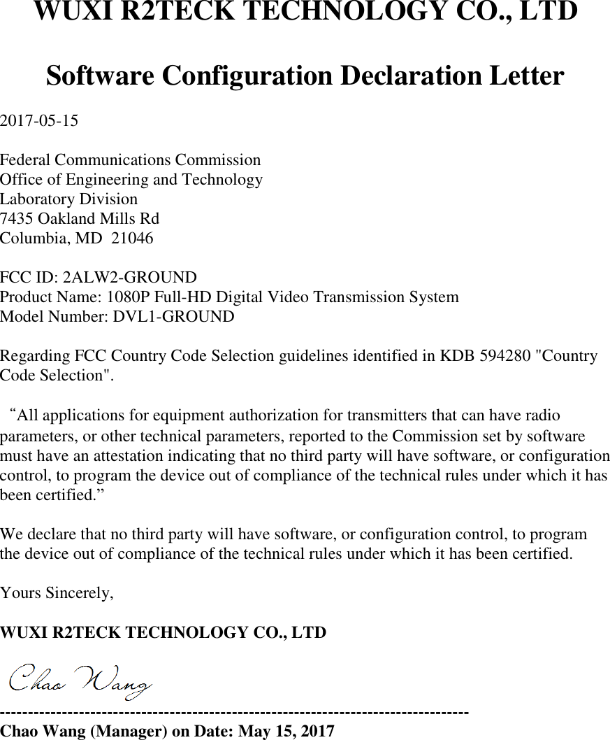 Page 1 of GROUND 1080P Full-HD Digital Video Transmission System Cover  Letter Software declaration