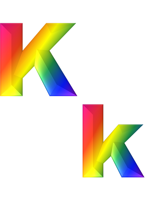 letter k 3d abc alphabet rainbow gradient bright - Letter K HD PNG